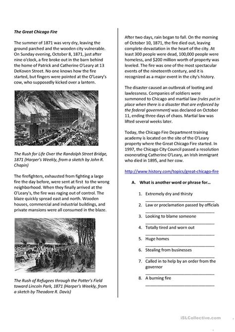 Reading Comprehension The Great Chicago Fire worksheet