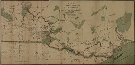 Map Shewing Line of Route Between Lake Superior and Red Ri